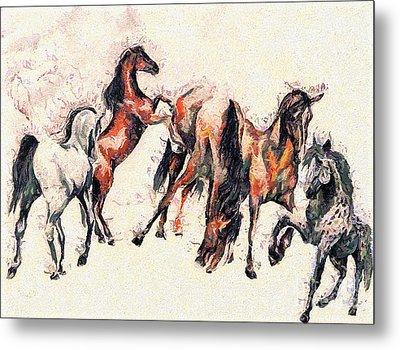 Horses Metal Print by Odon Czintos