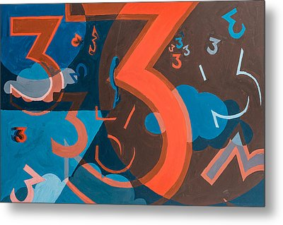 3 In Blue And Orange Metal Print