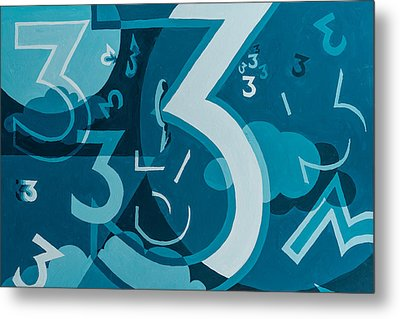 3 In Blue Metal Print