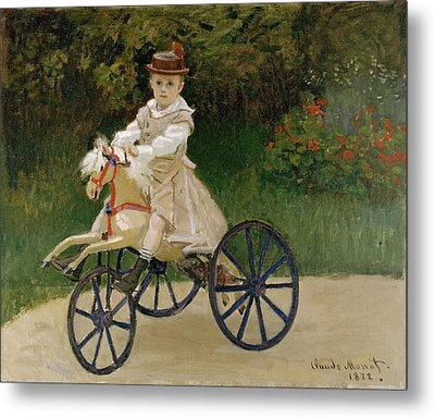 Jean Monet On His Hobby Horse Metal Print by Claude Monet