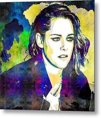Metal Print featuring the mixed media Kristen Stewart by Svelby Art