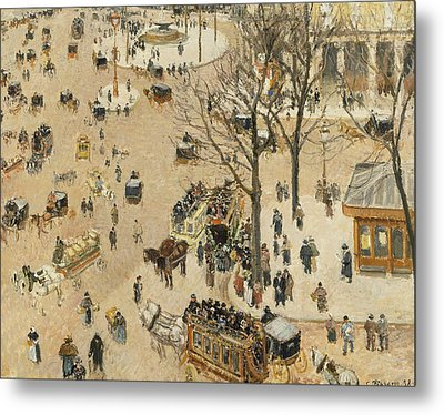 La Place Due Theatre Francais  Metal Print by Camille Pissarro