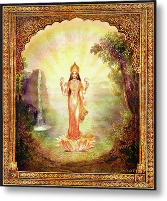 Lakshmi With The Waterfall Metal Print