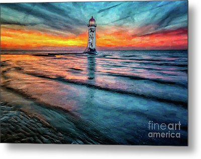 Light House Sunset Metal Print by Adrian Evans