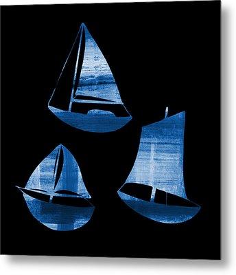 3 Little Blue Sailing Boats Metal Print by Frank Tschakert
