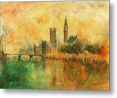 London Watercolor Painting Metal Print by Juan  Bosco