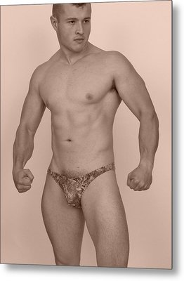 Male Muscle Metal Print