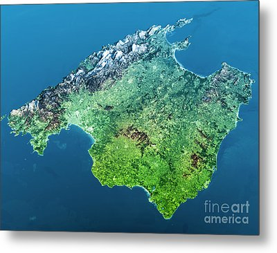 Mallorca Island Topographic Map 3d View Color Metal Print by Frank Ramspott