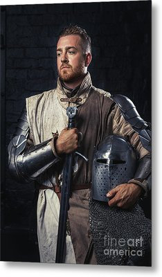 Medieval Knight In Armour Metal Print