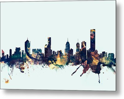 Melbourne Skyline Metal Print by Michael Tompsett