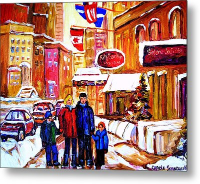 Metal Print featuring the painting Montreal Street In Winter by Carole Spandau
