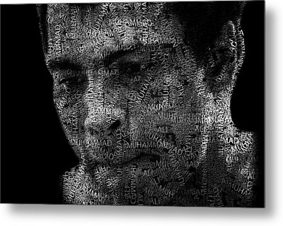 Muhammad Ali Or Cassius Clay Text Portrait - Typographic Face Poster Metal Print by Jose Elias - Sofia Pereira