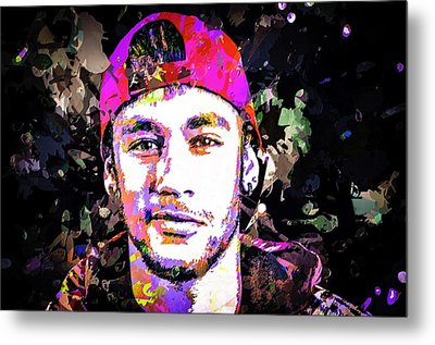 Metal Print featuring the mixed media Neymar by Svelby Art
