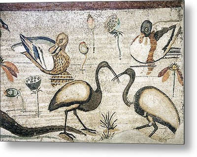 Nile Flora And Fauna, Roman Mosaic Metal Print by Sheila Terry