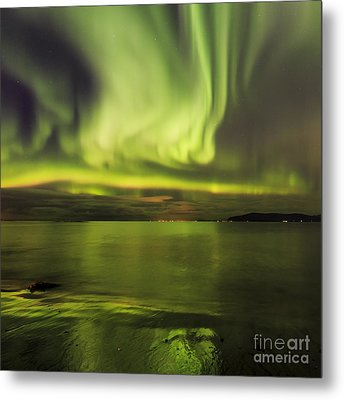 Northern Lights Reykjavik Metal Print
