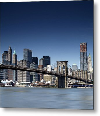 Nyc Brooklyn Bridge Metal Print by Nina Papiorek