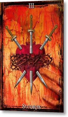 3 Of Swords Metal Print by Tammy Wetzel