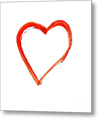 Metal Print featuring the drawing Painted Heart - Symbol Of Love by Michal Boubin