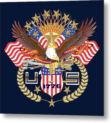 Patriotic America Mixed Designs W-transparent Back Pick Your Color Metal Print by Bill Campitelle