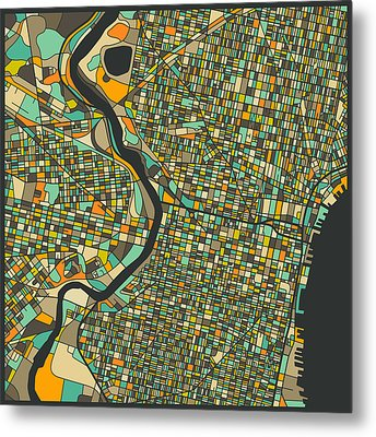 Philadelphia Map Metal Print by Jazzberry Blue