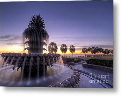 Pineapple Fountain Charleston Sc Sunrise Metal Print