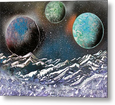 Metal Print featuring the painting 3 Planets 4664 by Greg Moores