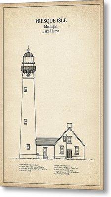 Presque Isle Lighthouse - Michigan - Blueprint Drawing Metal Print