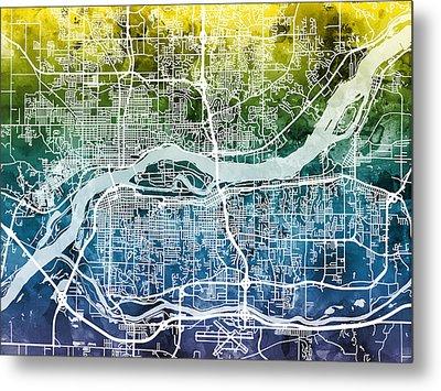 Quad Cities Street Map Metal Print by Michael Tompsett