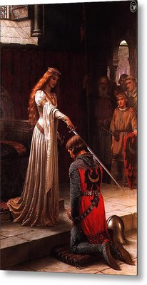 Queen Guinevere And Sir Lancelot Metal Print