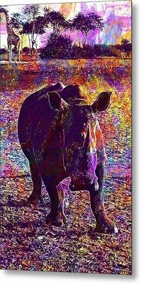 Metal Print featuring the digital art Rhino Africa Namibia Nature Dry  by PixBreak Art