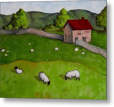 3 Sheep On The Farm Metal Print by Amy Higgins