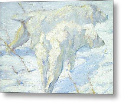 Siberian Dogs In The Snow Metal Print