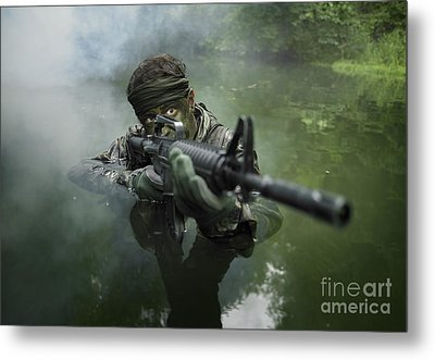 Special Operations Forces Soldier Metal Print by Tom Weber
