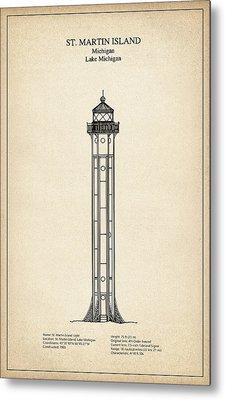 St. Martin Island Lighthouse - Michigan - Blueprint Drawing Metal Print