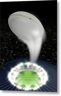 Stadium Night With Ball Swoosh Metal Print by Allan Swart