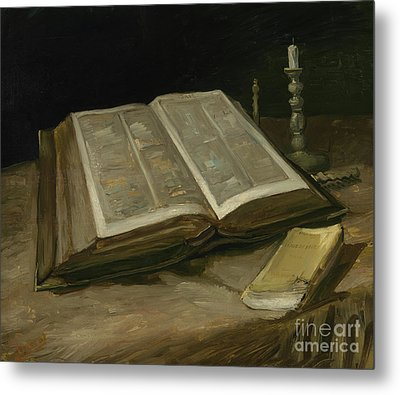 Still Life With Bible Metal Print by Vincent Van Gogh
