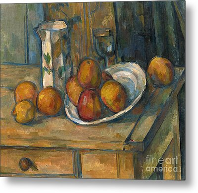Still Life With Milk Jug And Fruit Metal Print by Paul Cezanne
