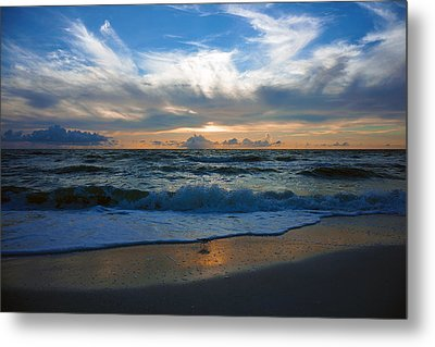 Sunset At Delnor-wiggins Pass State Park Metal Print by Robb Stan