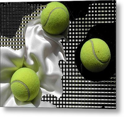 3 Tennis Balls Metal Print by Evguenia Men