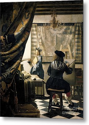 The Artist's Studio Metal Print by Jan Vermeer