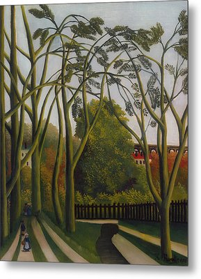 Metal Print featuring the painting The Banks Of The Bievre Near Bicetre by Henri Rousseau