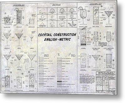 The Cocktail Construction Blueprint Metal Print by Jon Neidert