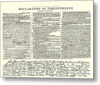 The Declaration Of Independence Metal Print by American School
