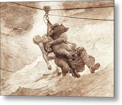 The Life Line Metal Print by Winslow Homer
