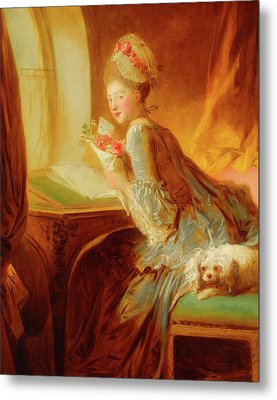 Metal Print featuring the painting The Love Letter by Jean Honore Fragonard