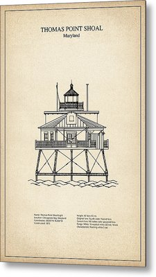Thomas Point Shoal Lighthouse - Maryland - Blueprint Drawing Metal Print