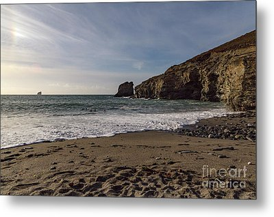 Metal Print featuring the photograph Trevellas Cove Cornwall by Brian Roscorla