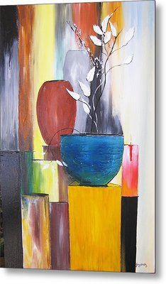 Metal Print featuring the painting 3 Vases by Gary Smith