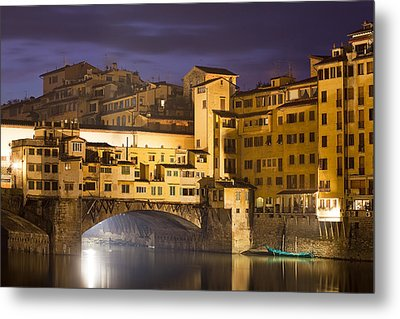 Vecchio Bridge At Night Metal Print by Andre Goncalves