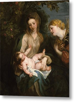 Virgin And Child With Saint Catherine Of Alexandria Metal Print by Anthony van Dyck